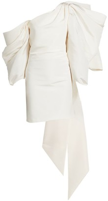 Carolina Herrera Dramatic Bow-Back Silk Cocktail Dress