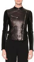 Giorgio Armani Asymmetric Zip-Front Combo Jacket, Black