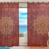 Yuihome Mandala Pattern Decor curtains Sheer Elegant Comfort Window Treatments Draperies Fabric Curtains Panels for living room bedroom red tulle curtain Mandala