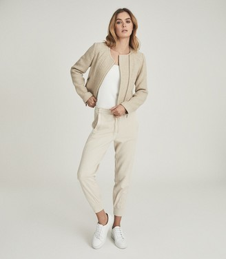Reiss ESSIE CROPPED BOUCLE JACKET Neutral
