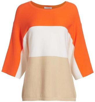 Joan Vass Petite Colorblock Cotton Sweater