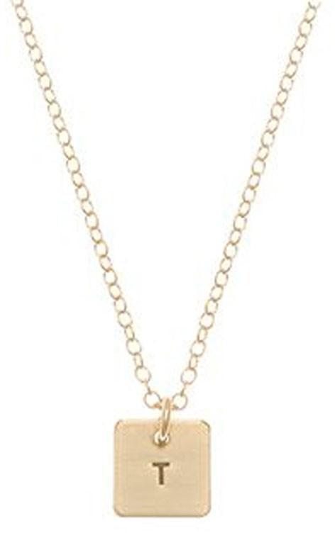 Anna Bee Mini Square Initial Necklace