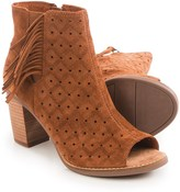 Toms Majorca Perforated Peep-Toe Ankle Boots with Fringe - Suede (For Women)
