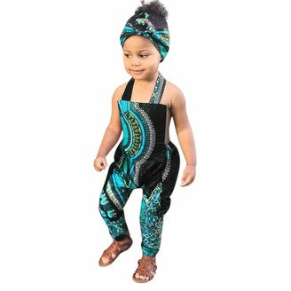 veyikdg Toddler Kid Sleeveless Romper Hair Band Jumpsuit Clothes Baby Girl African Print Cotton Blend Beach Green