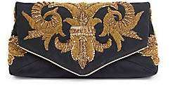 Dries Van Noten Women's Embroidered Satin Clutch