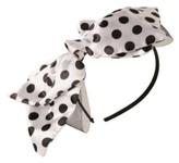Black and White Satin Polka-Dot Bow Headband