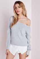 Missguided Ophelita Off Shoulder Knit Sweater Grey