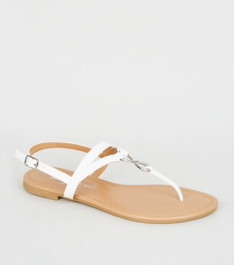 New Look Leather-Look Diamante Ring Sandals