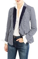 J.Crew Women's Solid Lapel Puckered Gingham Blazer