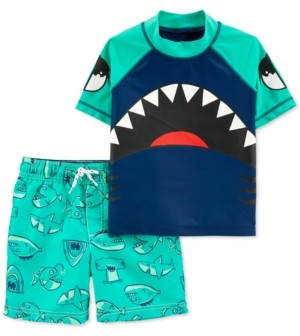 Carter's Toddler Boys 2-Pc. Shark Rash Guard & Swim Trunks Set