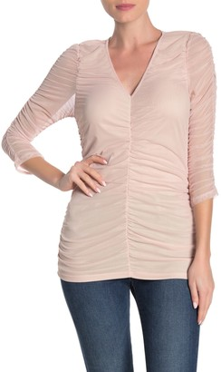 Vanity Room 3/4 Sleeve Ruched Mesh Top
