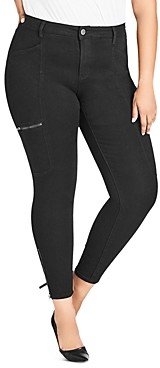City Chic Plus Cargo Skinny Jeans in Black