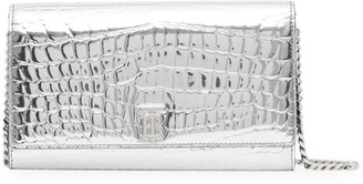 Burberry Hannah Croc-Embossed Metallic Wallet-On-Chain