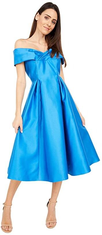 Adrianna Papell Off Shoulder Mikado Midi Dress Women's Dress