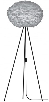 EOS Umage UMAGE - Large Light Grey Feather Black Tripod Floor Lamp - Grey/Black