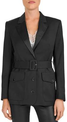 The Kooples Belted Notch-Lapel Blazer