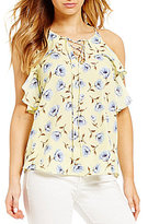 Blu Pepper Floral-Printed Sleeveless Lace-Up Top