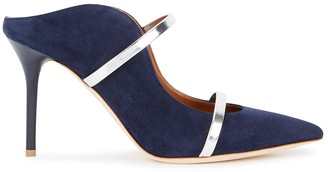Malone Souliers Maureen 85 Navy Suede Mules