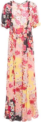By Ti Mo Ruffle-trimmed Floral-print Georgette Maxi Dress