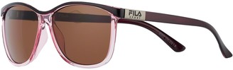 Fila Women's 57mm Slim Wayfarer Sunglasses with Contrasting Brow Bar