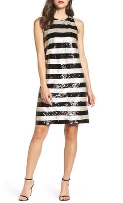 Eliza J Reversible Stripe Sequin Shift Dress