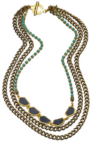 Janna Conner Designs Gold Navy and Turquoise Malia Necklace