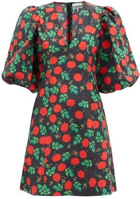 Ganni Rose-print V-neck Cotton Mini Dress - Black Multi