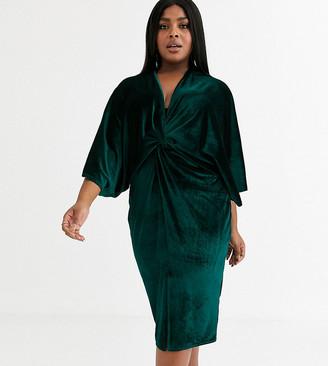 Flounce London Plus velvet kimono midi dress in emerald