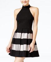 B. Darlin Juniors' Metallic-Striped Fit & Flare Dress