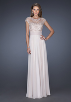 La Femme 19142 Cap Sleeve Illusion Lace Evening Gown