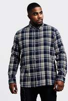 BoohooMAN Big & Tall Regular Fit Long Sleeve Check Shirt
