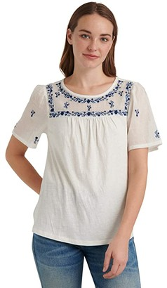 Lucky Brand Short Sleeve Crew Neck Embroidered Bib Knit Mix Top (Bright White) Women's Clothing
