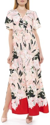 Alexia Admor Gianna V-Neck Flutter Sleeve Maxi Dress
