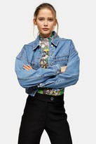 Topshop Womens Elasticated Hem Cropped Denim Jacket - Mid Stone