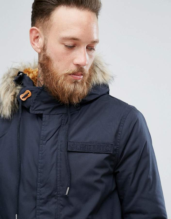Schott M51 Fishtail Parka Hooded Detachable Faux Fur Trim in Navy ...