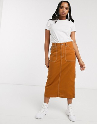 Dr. Denim contrast stitch detail midi skirt