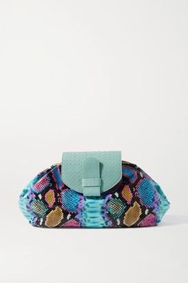 XIMENA KAVALEKAS Serena Large Snake-effect Leather Clutch - Green