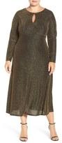 London Times Plus Size Women's Metallic Knit Midi Dress