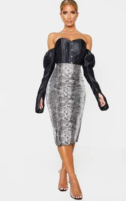 PrettyLittleThing Grey Faux Leather Snake Print Midi Skirt