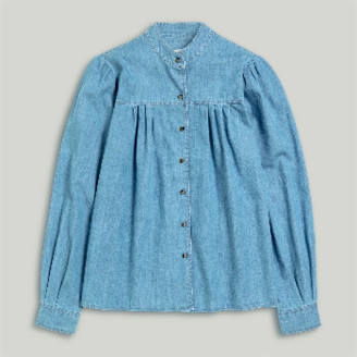 Closed Denim Stand Up Collar Blouse - XS.