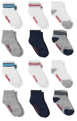 Hanes Baby and Toddler Boys Ankle Socks, 12-Pack