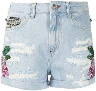 Philipp Plein Embroidered Denim Shorts