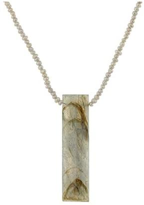 Chan Luu Short Freshwater Pearl Necklace with Labradorite Pendant (Labradorite Mix) Necklace