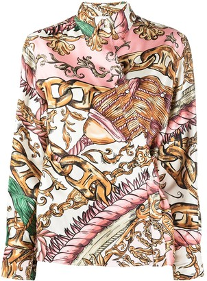 Moschino Chain-Print Silk Shirt