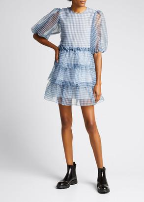 Ganni Check Organza Puff-Sleeve Tiered Ruffle Mini Dress