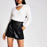 River Island Womens Black faux leather tab waist shorts