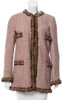 Chanel Mink Fur-Trimmed Wool-Blend Coat