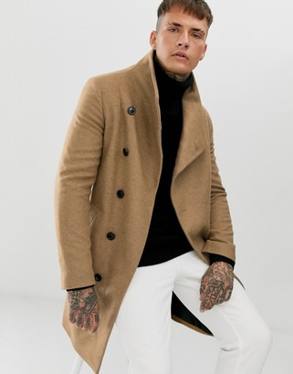 Religion funnel neck asymmetric overcoat in camel-Tan