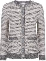 Lanvin Sequin Tweed Cardigan, White, M