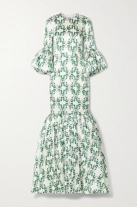 Rebecca De Ravenel Patio Ruffled Printed Silk-satin Maxi Dress - White